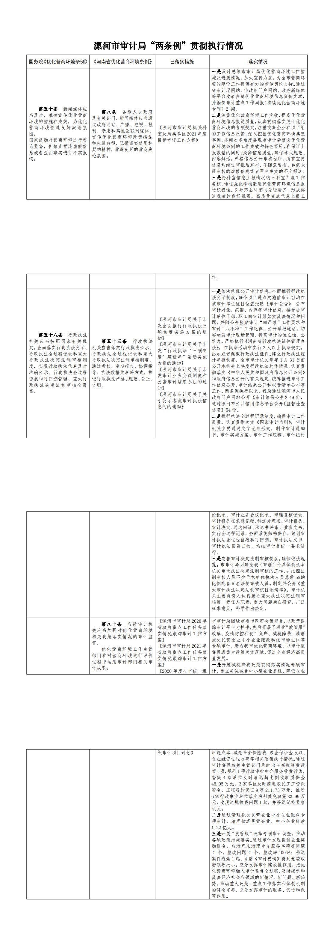 """漯河市审计局优化营商环境""""两条例""""贯彻执行工作台账_0"""
